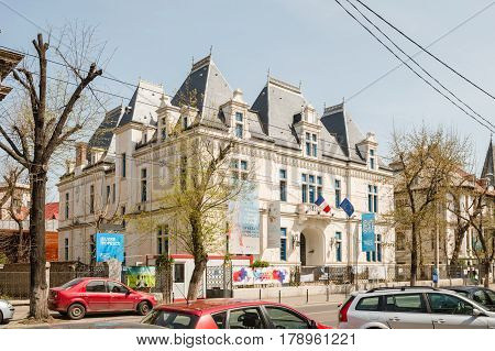 BUCHAREST ROMANIA - APR 1 2016: Institut Francais building in central Bucharest. he Institut Francais is a French public industrial and commercial organization (EPIC)