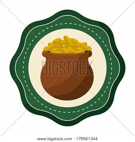sticker coins inside of flowerpot, vector illustration design