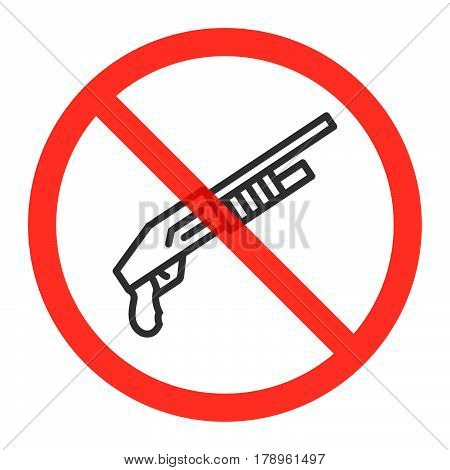 Shotgun line icon in prohibition red circle No weapons ban sign forbidden symbol. Vector illustration isolated on white