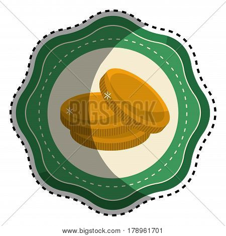 sticker gold metal coins, vector illustration design