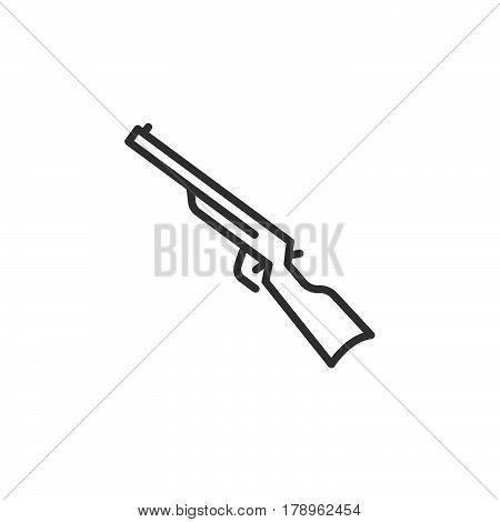 Shotgun carbine line icon outline vector sign linear pictogram isolated on white. Symbol logo illustration