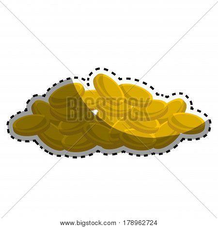 many metal gold coins money, vector illustration design
