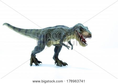 Green Dinosaur Tyrannosaurus Rex With Open Mouth In Attack Position - White Background