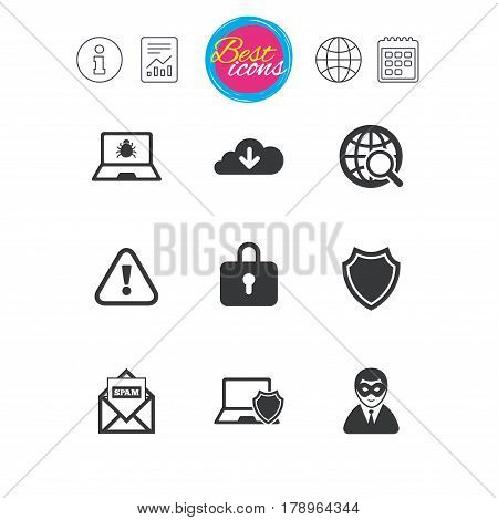 Information, report and calendar signs. Internet privacy icons. Cyber crime signs. Virus, spam e-mail and anonymous user symbols. Classic simple flat web icons. Vector