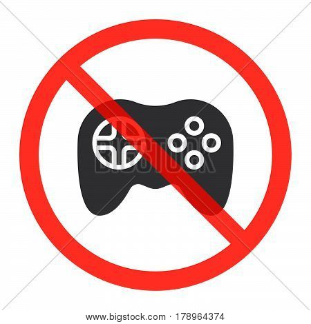 Gamepad icon in prohibition red circle No computer games ban sign forbidden symbol. Vector illustration isolated on white