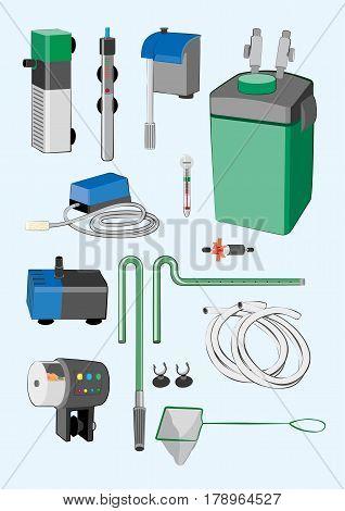 Various aquarium equipment set. Isolated vector illustration