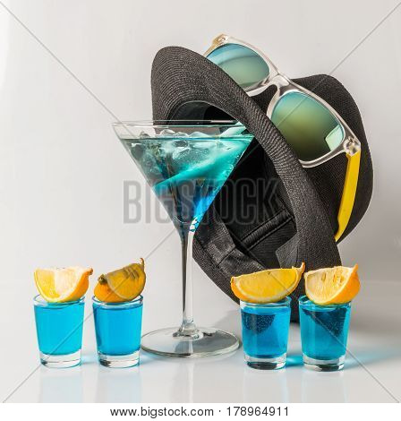Colorful Drink In A Martini Glass, Blue And Green Combination, Four Drinks In A Shotglass, Black Hat