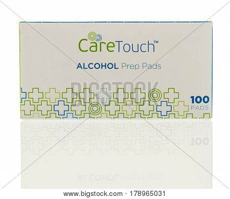 Winneconne WI - 27 March 2017: Box of alcohol prep pads made by Care Touch on an isolated background.