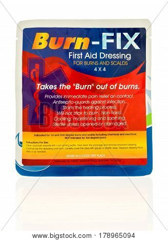 Winneconne WI - 27 March 2017: Package of Burn-Fix first aid dressing for burns and scalds on an isolated background.