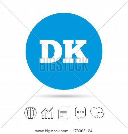 Denmark language sign icon. DK translation symbol. Copy files, chat speech bubble and chart web icons. Vector