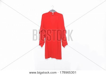 female red sundress isolated