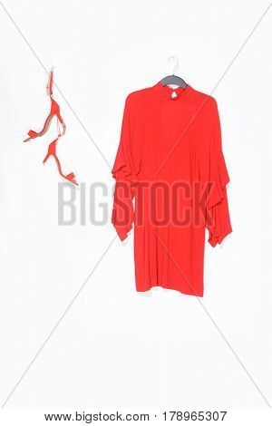 female red sundress with shoes isolated