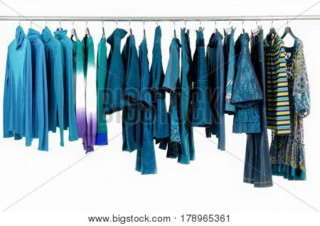 Variety of female blue clothing on hanging