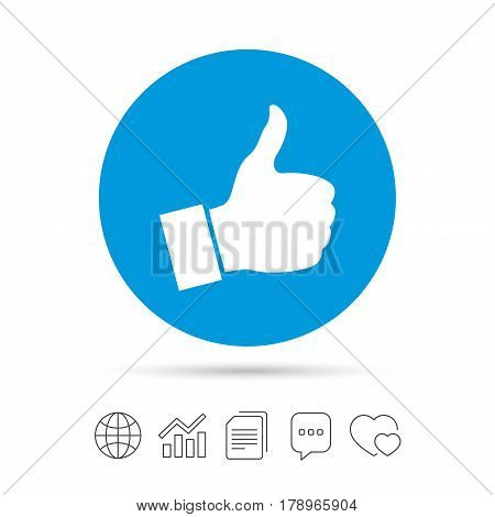 Like sign icon. Thumb up sign. Hand finger up symbol. Copy files, chat speech bubble and chart web icons. Vector