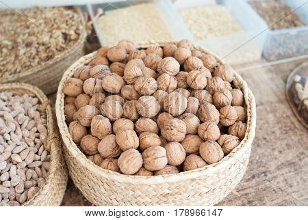 Fine walnuts at market stall