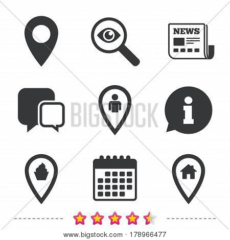 Map pointer icons. Home, food and user location symbols. Restaurant and cupcake signs. You are here. Newspaper, information and calendar icons. Investigate magnifier, chat symbol. Vector