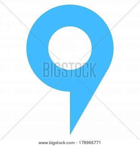 Quick and easy recolorable circle shape isolated from background. Flat map pin sign location icon web internet cartography button. Vector illustration a graphic element for design