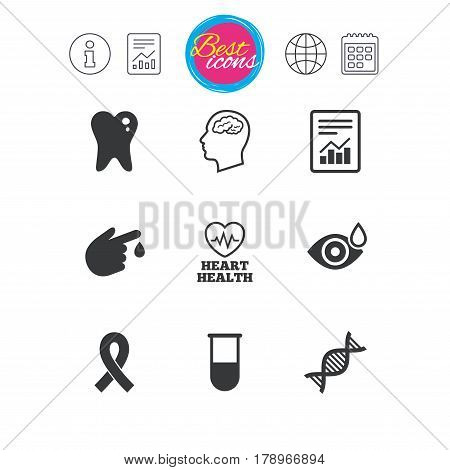 Information, report and calendar signs. Medicine, medical health and diagnosis icons. Blood test, dna and neurology signs. Tooth, report symbols. Classic simple flat web icons. Vector
