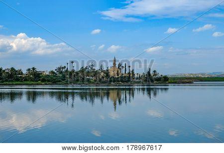 Mosque, Hala Sultan Tekke, at the Aliki salt lake in Larnaka, Cyprus
