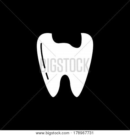 Caries tooth solid icon, Dental and medicine, sick tooth vector graphics, a filled pattern on a black background, eps 10.
