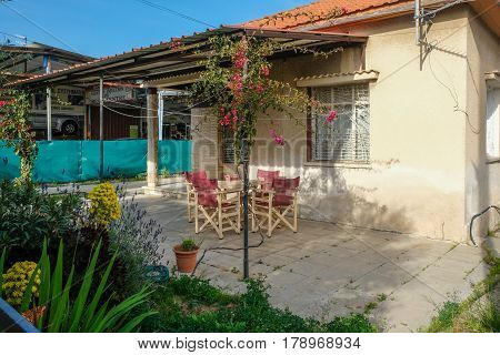 Verandah of a small bungalow in Limassol, Cyprus
