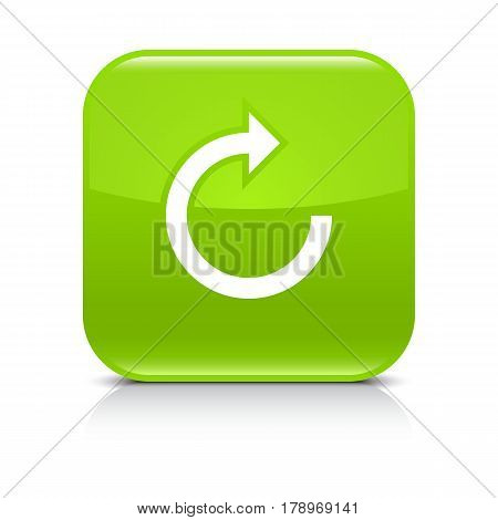 Green icon with white arrow repeat reload refresh rotation sign. Set 05. Rounded square button with gray reflection black shadow on white background. Vector illustration web design in 8 eps