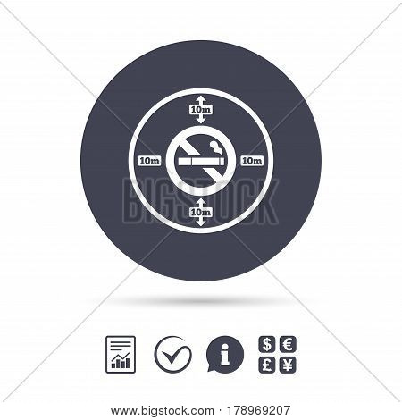 No smoking 10m distance sign icon. Stop smoking symbol. Report document, information and check tick icons. Currency exchange. Vector