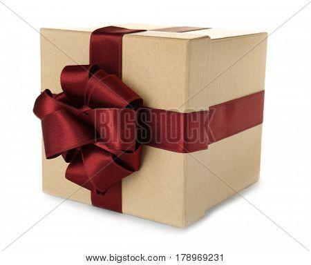 Beautiful gift box with vinous ribbon on white background