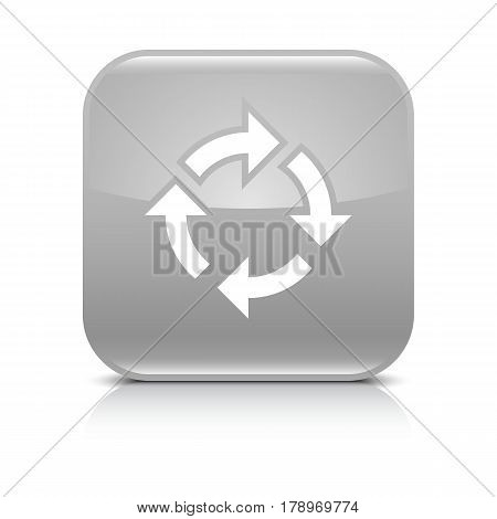 Gray icon with white arrow repeat reload refresh rotation sign. Set 02. Rounded square button with gray reflection black shadow on white background. Vector illustration web design in 8 eps