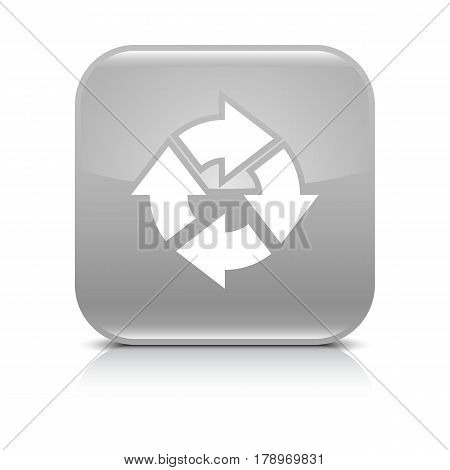 Gray icon with white arrow repeat reload refresh rotation sign. Set 04. Rounded square button with gray reflection black shadow on white background. Vector illustration web design in 8 eps