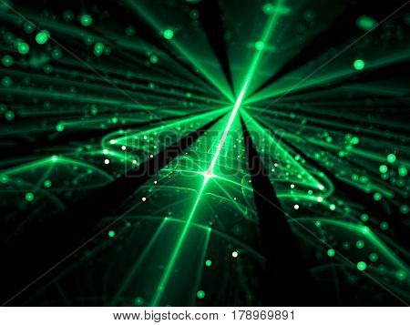 Blurred technology background - abstract computer-generated image. Shiny glass surface with glowing lines and bright bubbles bokeh. Future tech, cosmos or vr concept backdrop.