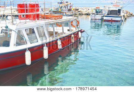 small port with fishing boats at Hydra island Greece