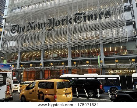 MANHATTAN, New York/USA - June 2016. An exterior photo of the New York Times building. The New York Times is an American daily newspaper founded and continuously published in New York City since September 18, 1851.