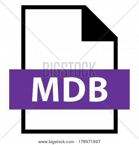 Use it in all your designs. Filename extension icon MDB Database File Format in flat style. Quick and easy recolorable shape. Vector illustration a graphic element.