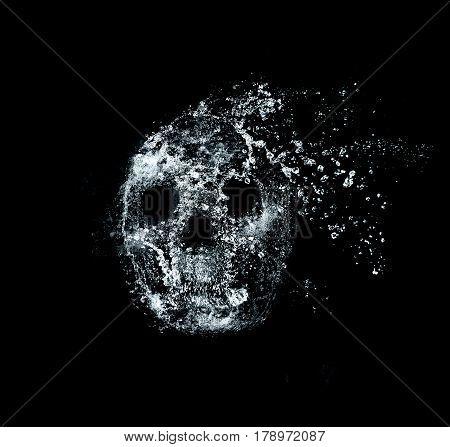 skull , water splash effect on background