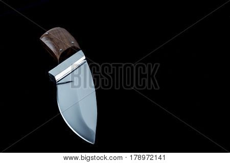 Hunting, Bbq, Bushcraft Knife With Natural Real Wood Handle Handmade Steel Forged - Black Background