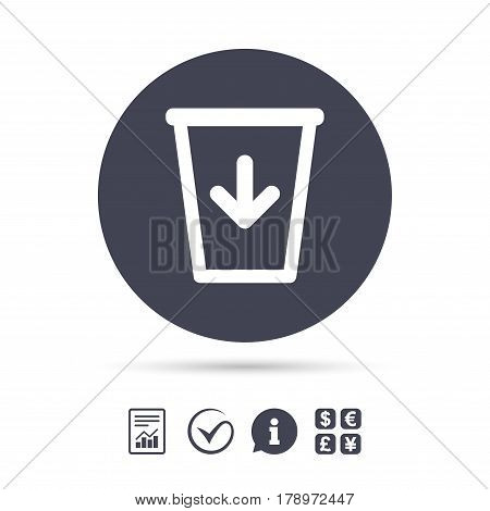 Send to the trash icon. Recycle bin sign. Report document, information and check tick icons. Currency exchange. Vector