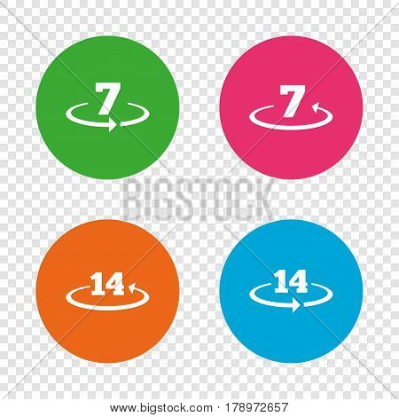 Return of goods within 7 or 14 days icons. Warranty 2 weeks exchange symbols. Round buttons on transparent background. Vector