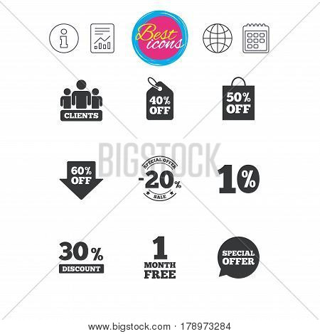 Information, report and calendar signs. Sale discounts icon. Shopping, clients and speech bubble signs. 20, 30, 40 and 50 percent off. Special offer symbols. Classic simple flat web icons. Vector