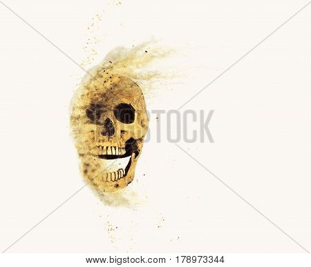 skull sand storm effect on the background