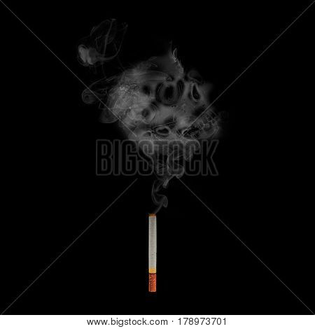 cigarette with skull smoke effect on background