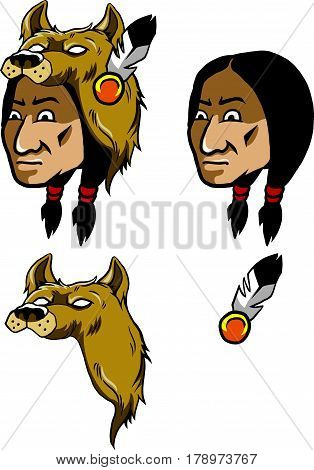 Vector illustration native American wear wolf head headscarf