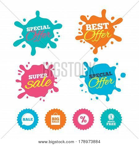 Best offer and sale splash banners. Sale speech bubble icon. Discount star symbol. Big sale shopping bag sign. First month free medal. Web shopping labels. Vector