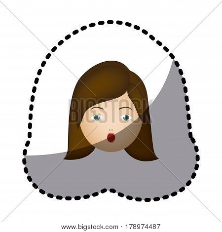 sticker colorful cartoon human female puzzled face vector illustration