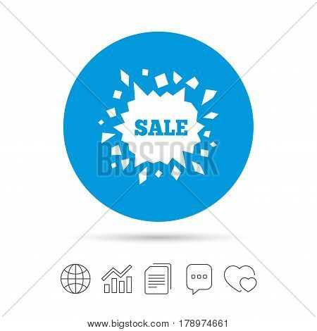 Sale icon. Cracked hole symbol. Copy files, chat speech bubble and chart web icons. Vector
