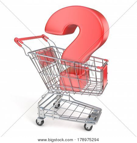 Red Question Mark Inside Shopping Cart 3D