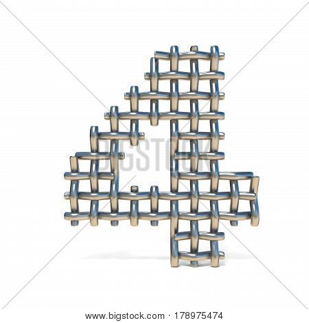 Metal Wire Mesh Font Number 4 Four 3D
