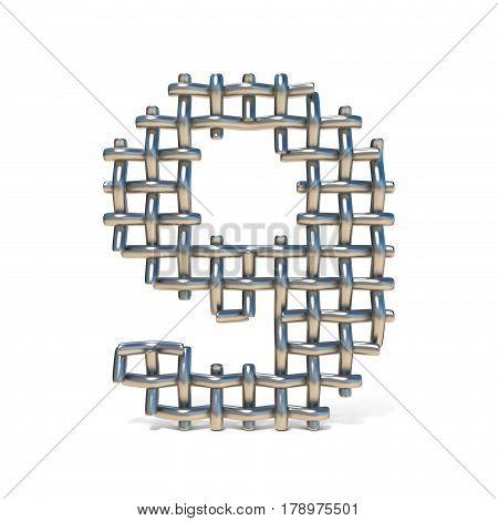 Metal Wire Mesh Font Number 9 Nine 3D