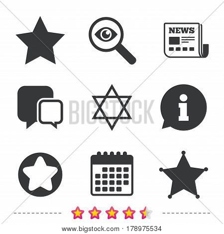 Star of David icons. Sheriff police sign. Symbol of Israel. Newspaper, information and calendar icons. Investigate magnifier, chat symbol. Vector
