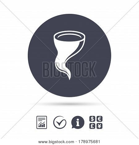 Storm sign icon. Gale hurricane symbol. Destruction and disaster from wind. Insurance symbol. Report document, information and check tick icons. Currency exchange. Vector